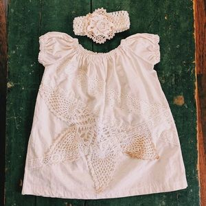 Other - Antique Lace Crochet Baby Dress w Headband